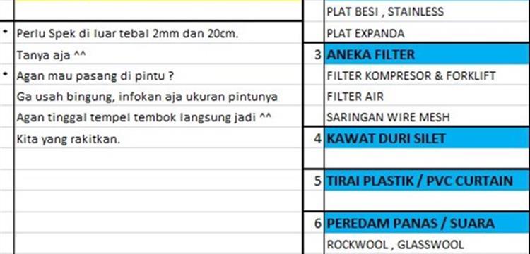 Tirai PVC Curtain Plastik-Kuning 2mmx20cm