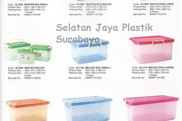 Box plastik merk Maspion untuk tempat parsel