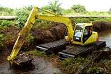 RENTAL Alat Berat Amphibi Excavator Swamp Beko