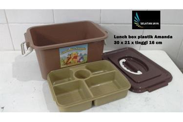 Lunch box Amanda tempat selamatan syukuran plastik coklat